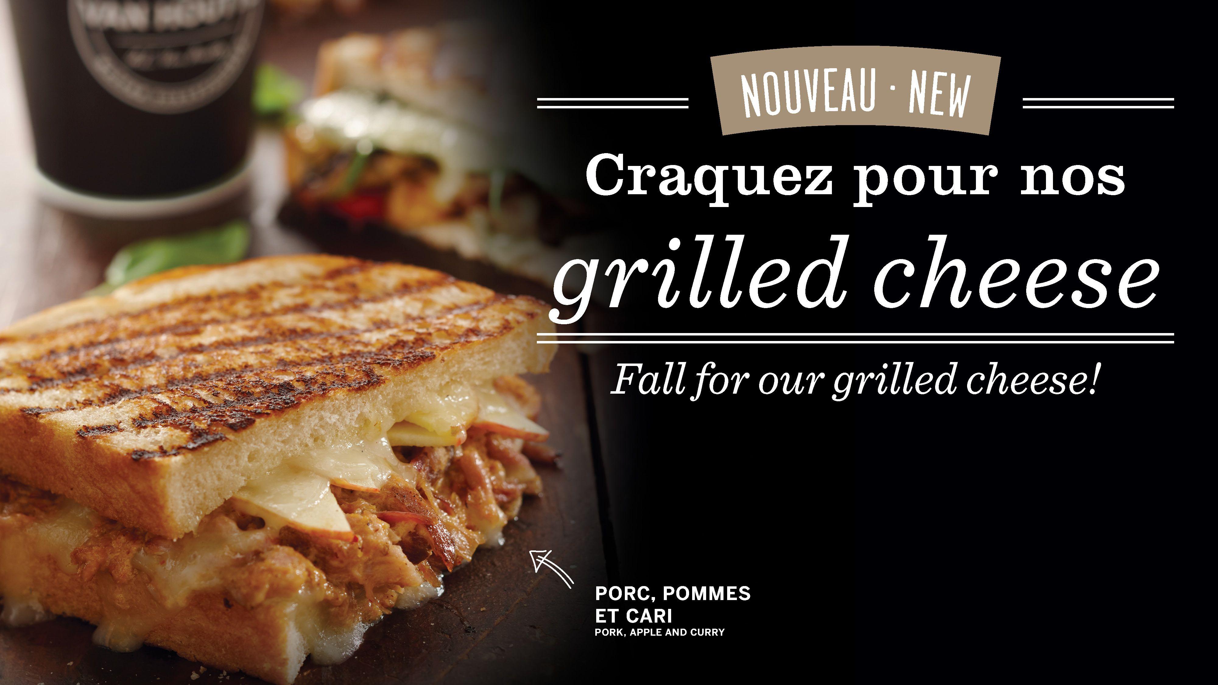 Craquez pour nos grilled cheese!